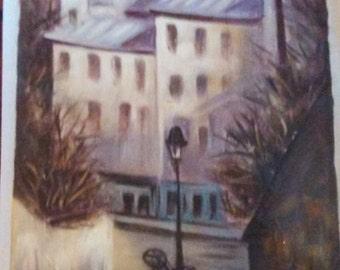 """27"""" x 38"""" Original Oil Painting City Scape"""