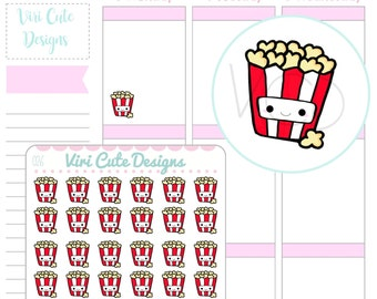 Kawaii Popcorn Planner Stickers, Popcorn Stickers, Planner Stickers, Snack Stickers, Hand drawn stickers, Food Planner Stickers | 026