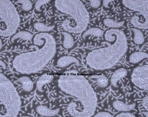 Grey Fabric Natural Dyed Running Fabric Handmade, Indian Fabric Sold by Yard,  Block Print Fabric, Cotton Printed Fabric in Paisley Pattern