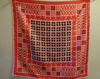 Scarf: Vintage 80's Geometric Specialty House Polyester