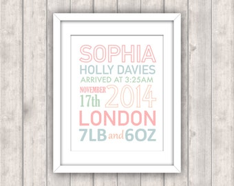 PRINTABLE Digital File - Personalised 8x10 New Baby Birth Announcement Print - Nursery Decor Christening Gift Girl's Child's Room Pink Blue