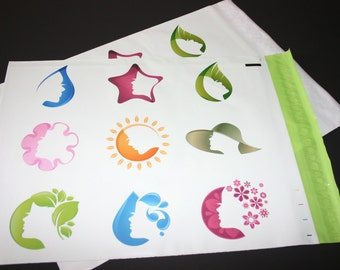 20 12x15.5  Designer Poly Mailers Pink Green Silhouette Self Sealing Envelopes Shipping Bags