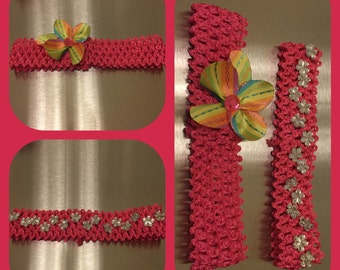 Headbands - Embellished - White - Pink - Flower - Gems - Rainbow - Flower - Little Girls
