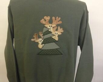 Peeking Reindeer Applique Sweatshirt