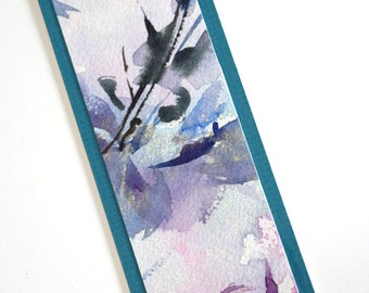 Handmade bookmark. Handmade abstract watercolor bookmark. Unique bookmark. Original watercolor on bookmark. Freshwater pearls and crystal