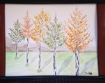 Aspen Trees Original Watercolor Art
