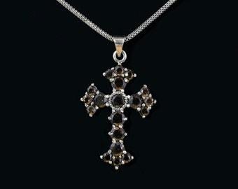 Smokey Topaz cross necklace,Victorian cross,Black Silver cross,Large topaz cross,Sterling Silver cross,Handmade cross,Victorian chocker
