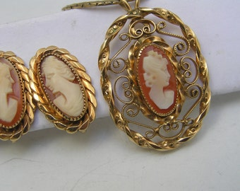 Vintage Carved Cameo Pendant Necklace . Earrings . Gold Filled Jewelry