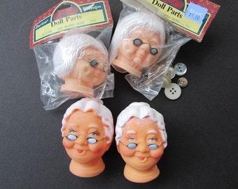 Darcie Vintage Doll Head Grandma Craft Supply old Woman Head P12398 ONE Head