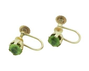 9ct Gold Peridot Vintage Earrings