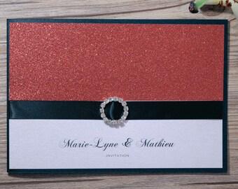 Glitter Wedding Invitation, Glitter Wedding Invitations, Glitter Invitation, Glitter Invitations, Red Invitation, Red Invitations, Handmade