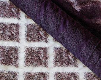 Gratacós Embroidered Tulle in Dark Eggplant Purple