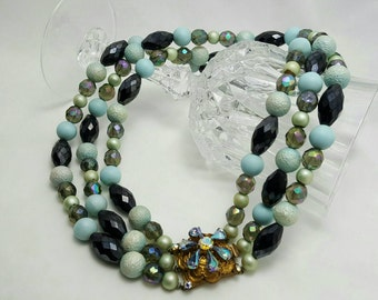 Triple Strand Beaded Necklace