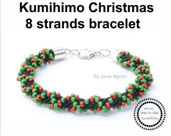 Kumihimo pattern tutorial 8 strands Christmas bracelet