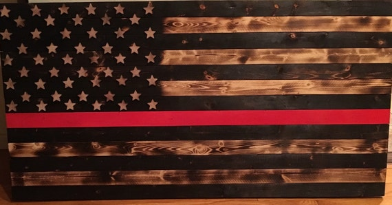 Wood Burned Thin Red Line Flag