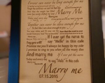 "Leather 3rd Anniversary Gift Laser Engraved ""Marry Me"" Quote Personalized With Frame Art"