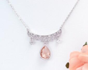 Bridal necklace fishing - Peach-collar wedding-Bridal necklace peach-jewelry bridal wedding peach-collar wedding-Bridesmaids necklace peach