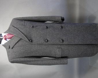 Vtg EISENBERG Charcoal Tweed Wool Paletot Top Coat 40 S R Heavy Weight