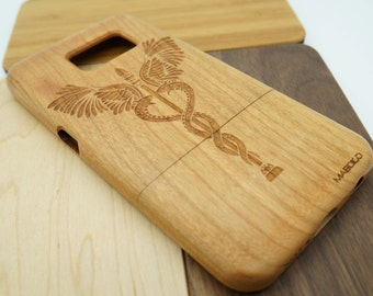 Caduceus Phone Case iPhone 6  Plus iPhone 5 iPhone Case Samsung Galaxy  S6 Wooden Case Medical Phone Case Cell Phone
