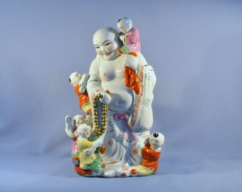 Antique Chinese Laughing Buddha Statue Porcelain 五子登科  DSC_00227