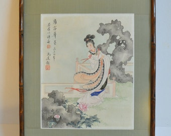 Antique Chinese Water Color Painting of Beauty and Elegant Signed DSC_00234