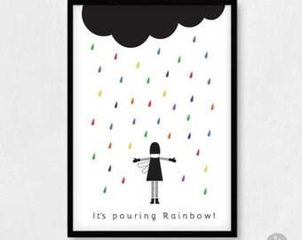 Raining rainbow, encouragement poster, nursery wall art, friendship card, cheer up card, kids inspiring print, A4 A3 A2 A1 poster print
