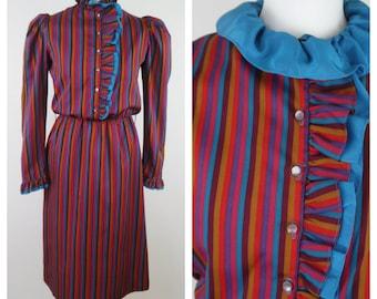 1970s multicoloured striped algo ettes pierrot/ edwardian style dress size 12