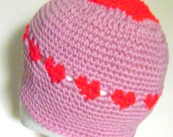 Winter Hat with Hearts around and on top,Unique and one-of-akind