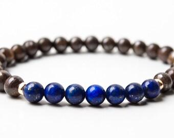 Lapis Lazuli and Bronzite Bracelet, Gemstone Bracelet, Beaded Bracelet, Stretch Bracelet, Stack