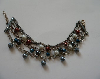One of the a kind Multi Glass Pearl Bracelet