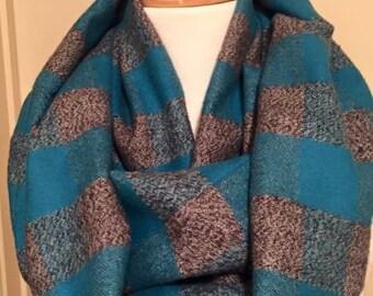 Flannel Infinity Scarf Scarfs Scarves Blue Grey Gray Gift Soft Bulky