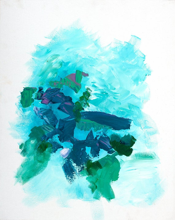 Modern Abstract Art Blue and Green