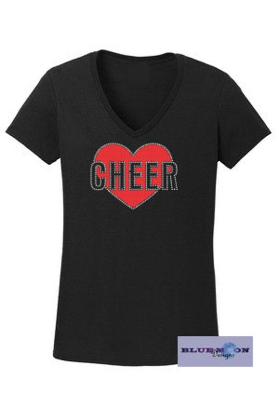Cheer Heart Rhinestone and Vinyl T-Shirt Made to order