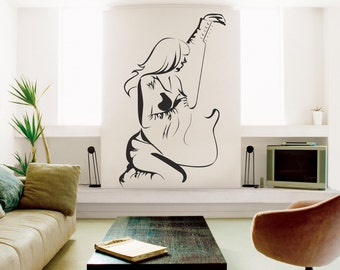 Woman with guitar, Music wall decal, Girl with guitar wall decal, Musical wall decal, Guitar wall vinyl, Rock wall decal,  Wall decal 210