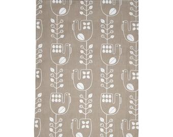 Hand screen printed 'Mustikkakukko' tea towel in 100 % Linen - Beige and White