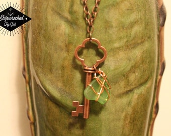 Handmade Seaglass and Key Necklace! One of a kind!