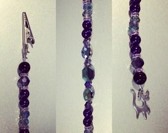 Purple beaded hair clip, halloween hair clip, roach clip, silver cat charm