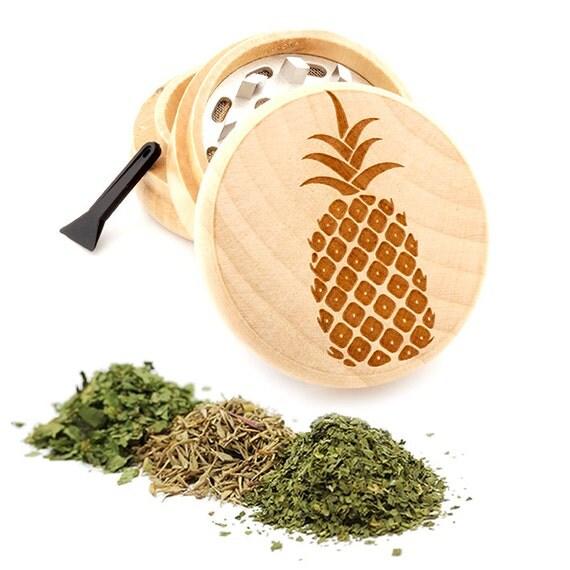 Pineapple Engraved Premium Natural Wooden Grinder Item # PW050916-117