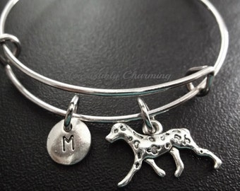 Sale.....Dalmation spotted dog, Silver plated Bangle, monogram personalized item No.652