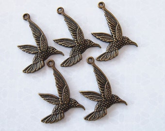 20 Acrylic Humming Bird Pendants Clearance Lot Destash Bronze Size 53 x 42mm