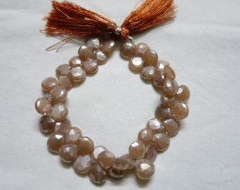 Brown Moonstone Silver Coated Faceted Hearts