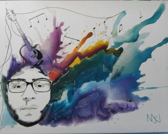 Acrylic painting, Abstract Portrait, Crazy Colors or black and greys