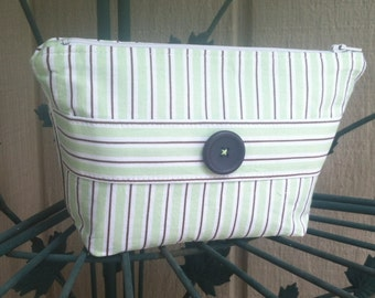Cosmetic Makeup Bag with Lime Green, Muted Purple, and White Print
