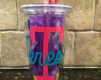 Personalized tumblers with name, initial and polka dots