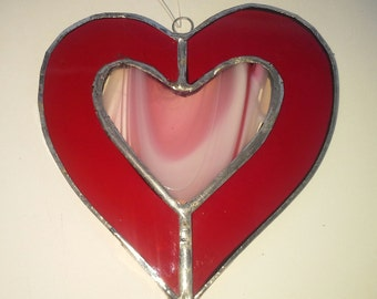Stained glass heart within a heart suncatcher