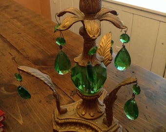 Hollywood Regency Green Glass Prism Candlestick (A496)