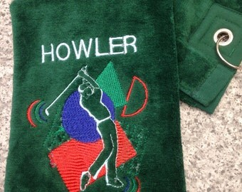 Personalised green golf towel