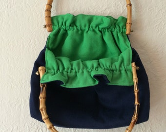 Reversible Vintage Purse Green and Blue