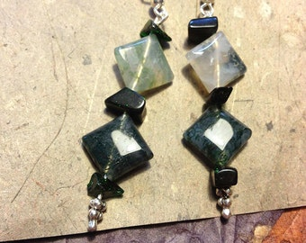 Square light and dark green stone dangle earrings with sparkly green stone accents