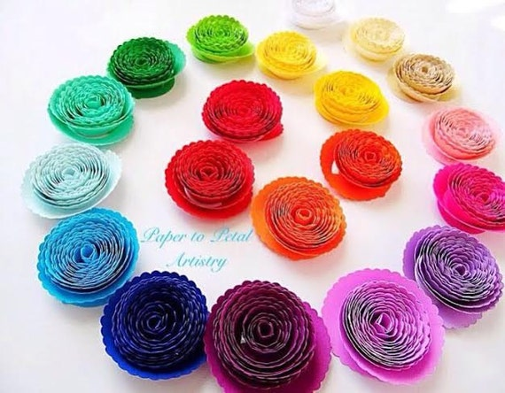 Paper Rolled Rosette Templates- DIY paper flowers- Printable PDF rosette pattern- Rolled Rosette template outline- paper flower templates